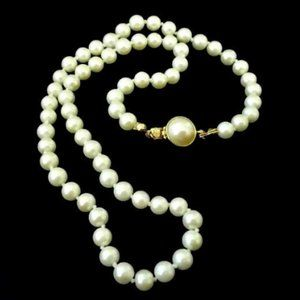 Vintage Carolee Hand Knotted Faux Pearl Necklace